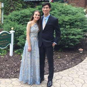 Shimmery Blue and Cream Prom Dress